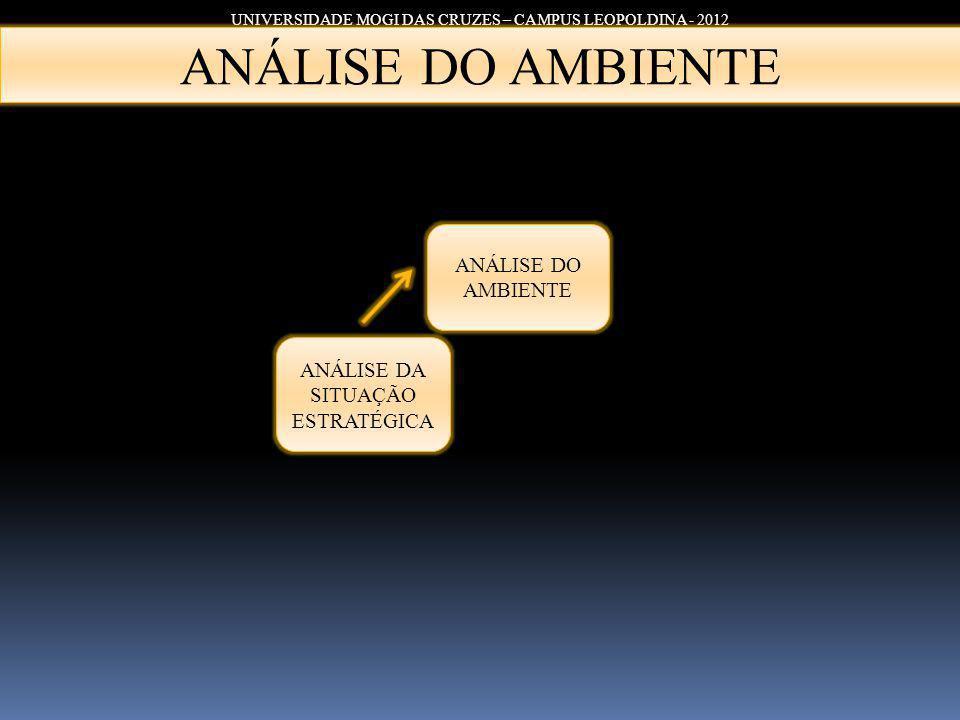 UNIVERSIDADE MOGI DAS CRUZES – CAMPUS LEOPOLDINA - 2012 ANÁLISE DA SITUAÇÃO ESTRATÉGICA ANÁLISE DO AMBIENTE