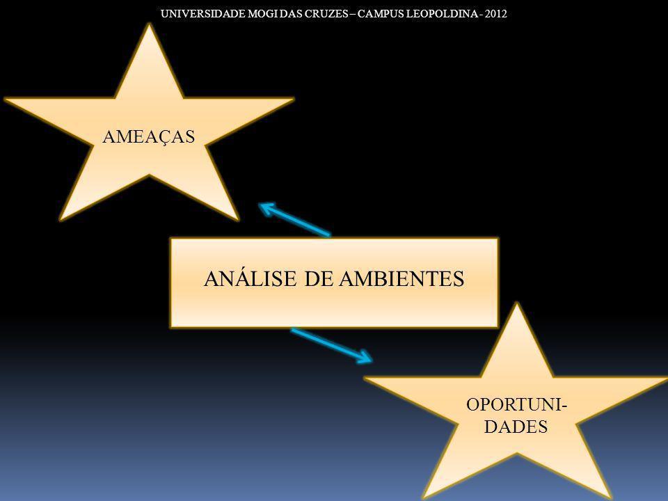 UNIVERSIDADE MOGI DAS CRUZES – CAMPUS LEOPOLDINA - 2012 ANÁLISE DE AMBIENTES AMEAÇAS OPORTUNI- DADES