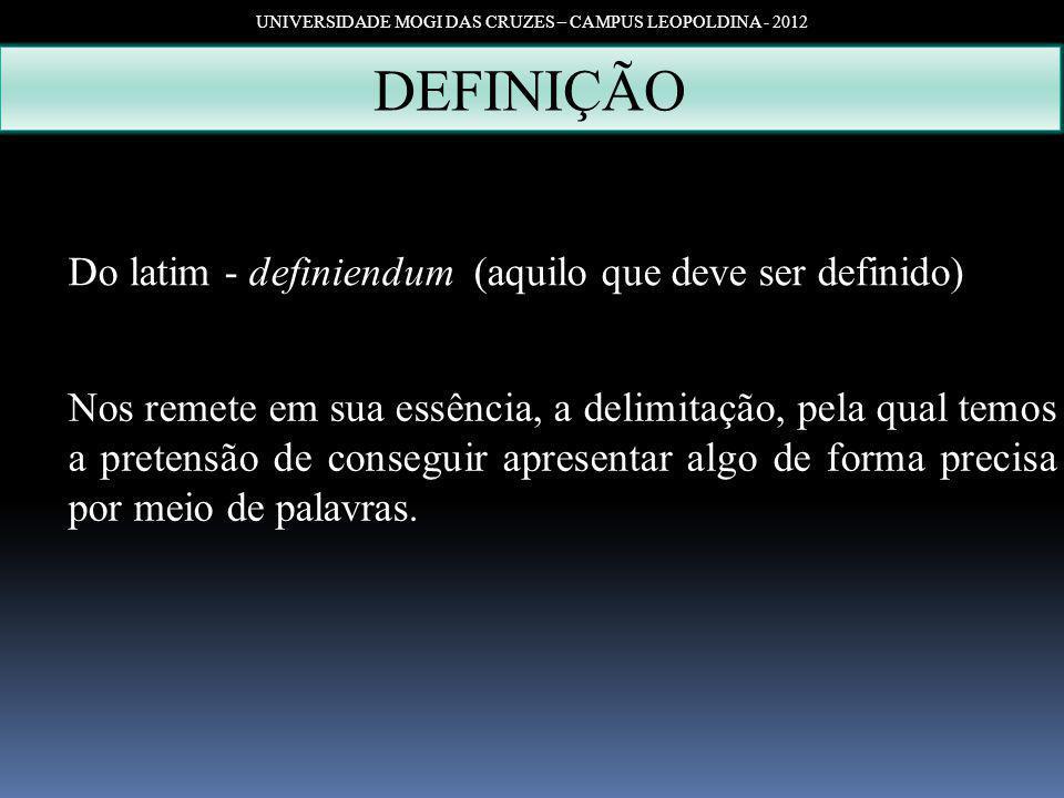 UNIVERSIDADE MOGI DAS CRUZES – CAMPUS LEOPOLDINA - 2012 DEFINIÇÃO Do latim - definiendum (aquilo que deve ser definido) Nos remete em sua essência, a