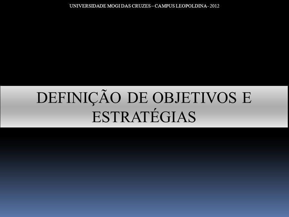 UNIVERSIDADE MOGI DAS CRUZES – CAMPUS LEOPOLDINA - 2012 DEFINIÇÃO DE OBJETIVOS E ESTRATÉGIAS