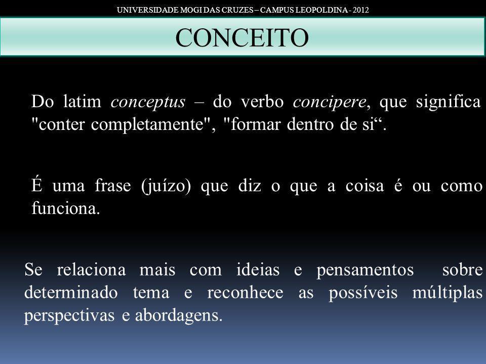 UNIVERSIDADE MOGI DAS CRUZES – CAMPUS LEOPOLDINA - 2012 CONCEITO Do latim conceptus – do verbo concipere, que significa