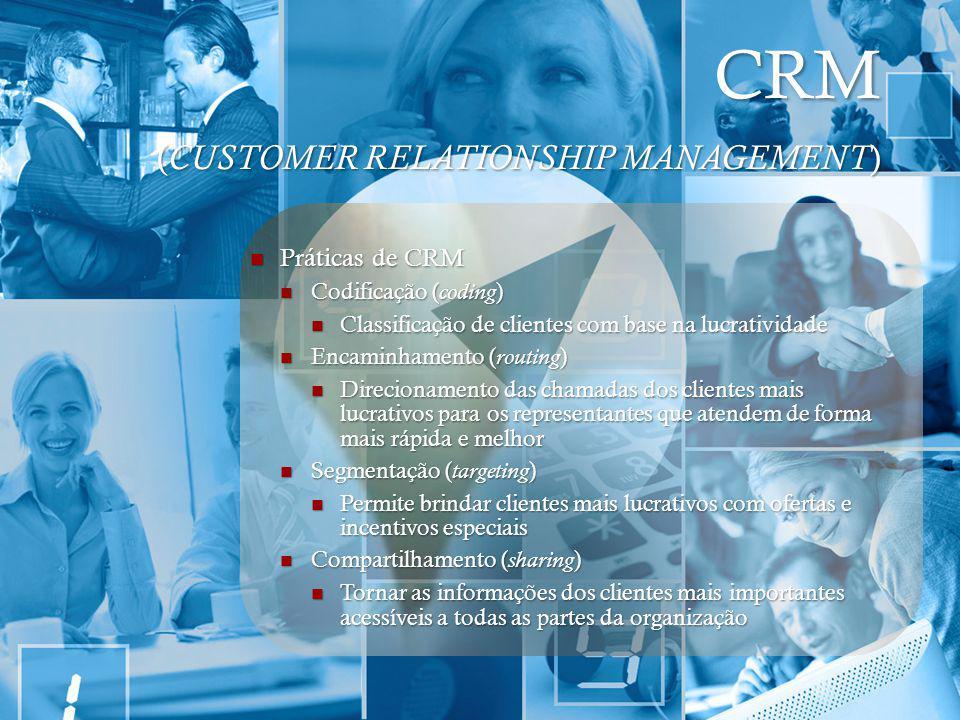 CRM ( CUSTOMER RELATIONSHIP MANAGEMENT ) Práticas de CRM Práticas de CRM Codificação ( coding ) Codificação ( coding ) Classificação de clientes com b
