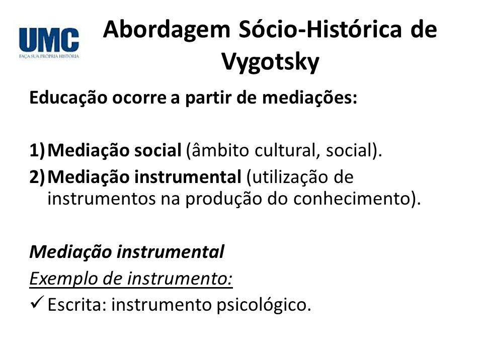 Abordagem Sócio-Histórica de Vygotsky Educação ocorre a partir de mediações: 1)Mediação social (âmbito cultural, social). 2)Mediação instrumental (uti