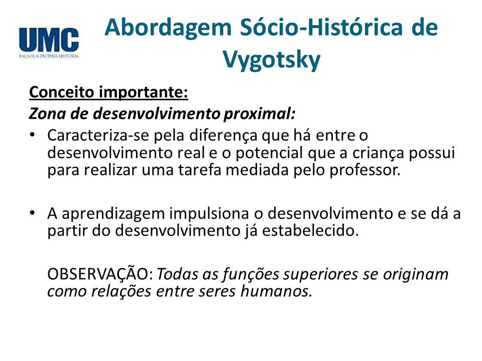 Abordagem Sócio-Histórica de Vygotsky Conceito importante: Zona de desenvolvimento proximal: Caracteriza-se pela diferença que há entre o desenvolvime