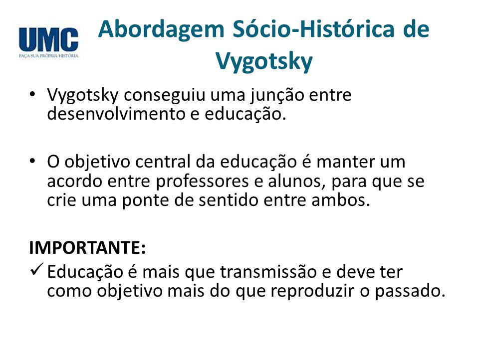 Abordagem Sócio-Histórica de Vygotsky Vygotsky conseguiu uma junção entre desenvolvimento e educação. O objetivo central da educação é manter um acord