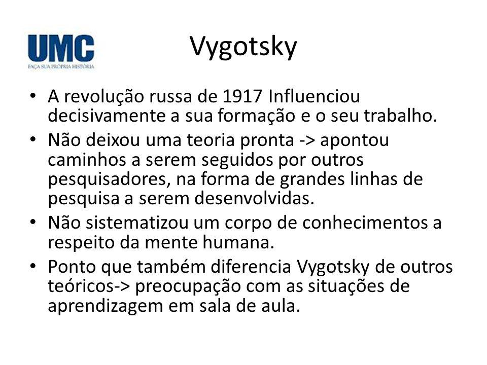Vygotsky A revolução russa de 1917 Influenciou decisivamente a sua formação e o seu trabalho. Não deixou uma teoria pronta -> apontou caminhos a serem