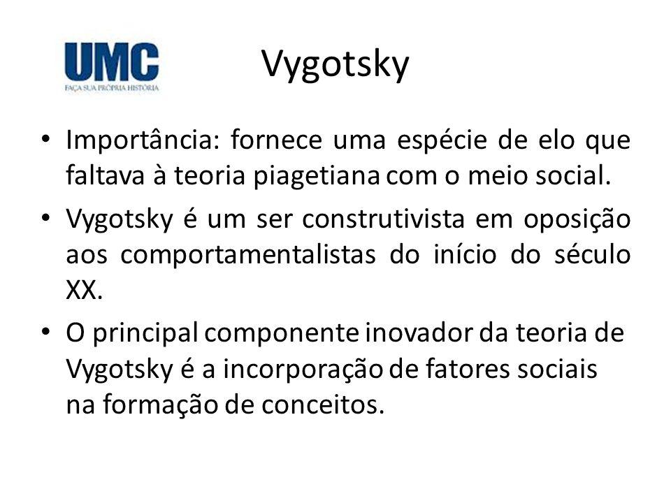 Vygotsky Importância: fornece uma espécie de elo que faltava à teoria piagetiana com o meio social. Vygotsky é um ser construtivista em oposição aos c
