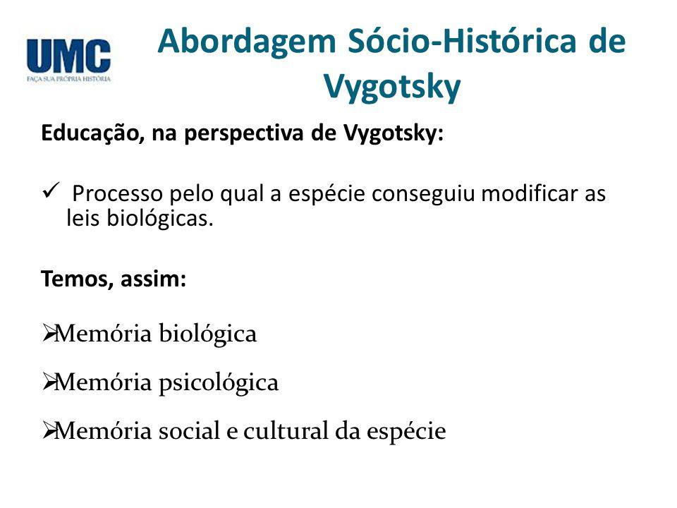 Abordagem Sócio-Histórica de Vygotsky Educação, na perspectiva de Vygotsky: Processo pelo qual a espécie conseguiu modificar as leis biológicas. Temos
