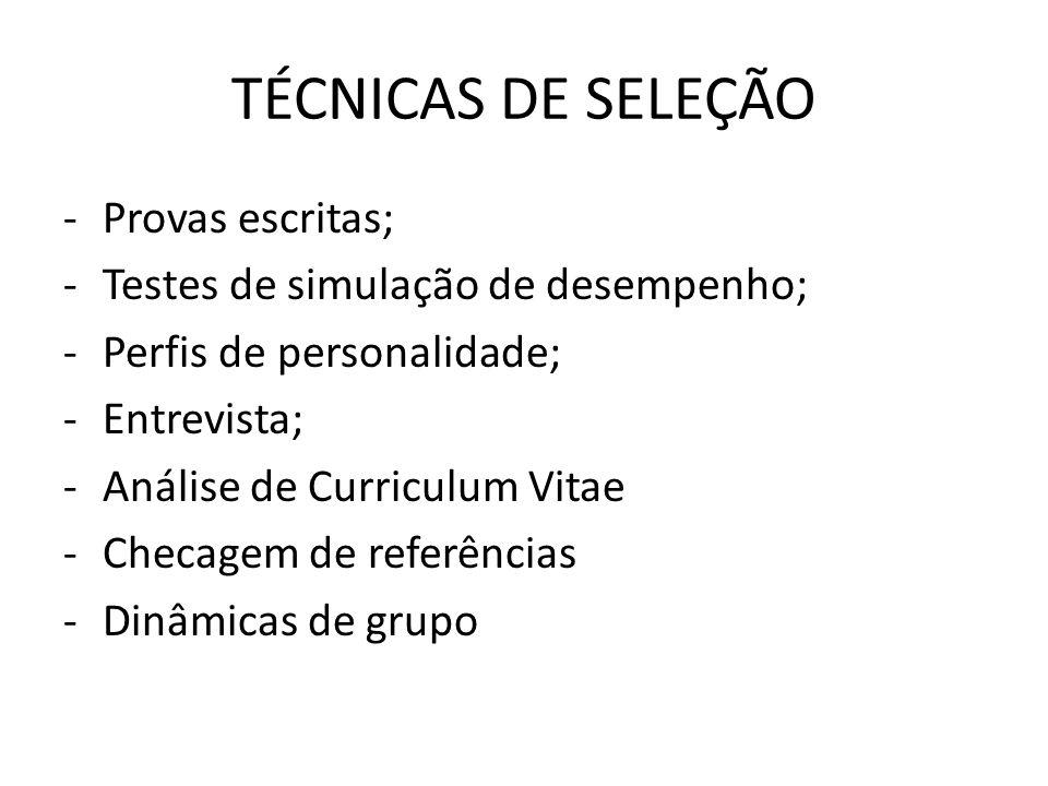 -Provas escritas; -Testes de simulação de desempenho; -Perfis de personalidade; -Entrevista; -Análise de Curriculum Vitae -Checagem de referências -Di