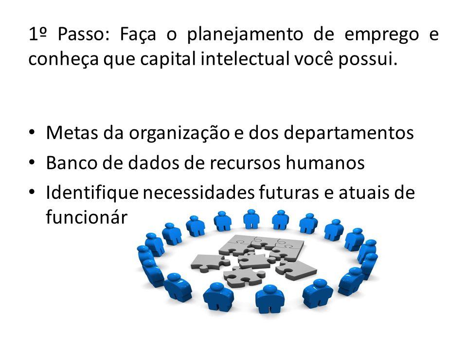 Metas da organização e dos departamentos Banco de dados de recursos humanos Identifique necessidades futuras e atuais de funcionários 1º Passo: Faça o