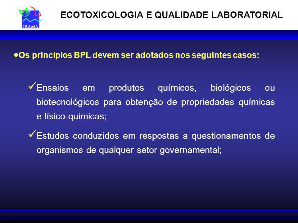Os princípios BPL devem ser adotados nos seguintes casos: Ensaios em produtos químicos, biológicos ou biotecnológicos para obtenção de propriedades qu