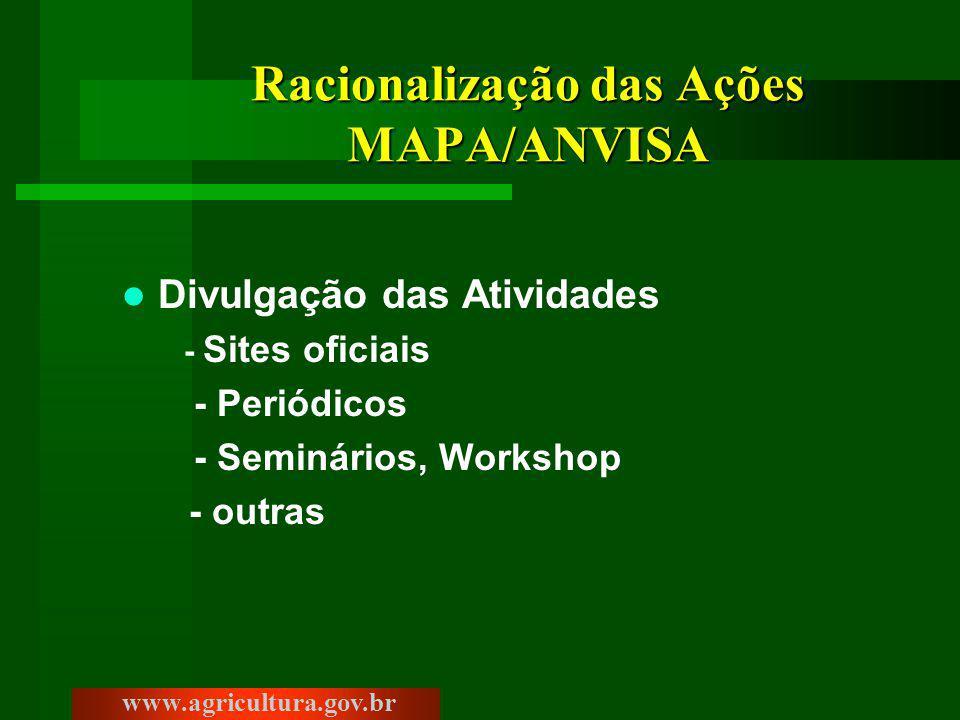 Racionalização das Ações MAPA/ANVISA Divulgação das Atividades - Sites oficiais - Periódicos - Seminários, Workshop - outras www.agricultura.gov.br