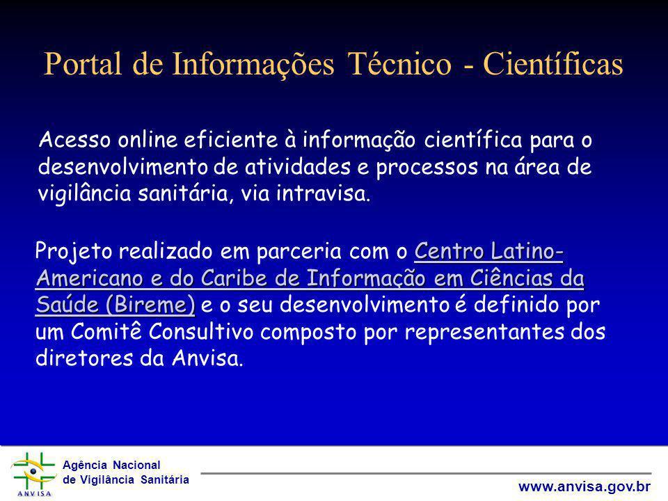 Agência Nacional de Vigilância Sanitária www.anvisa.gov.br Portal de Informações Técnico - Científicas Acesso online eficiente à informação científica