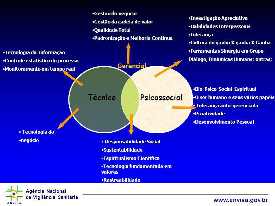 Agência Nacional de Vigilância Sanitária www.anvisa.gov.br PsicossocialTécnico Gerencial Gestão do negócio Gestão da cadeia de valor Qualidade Total P