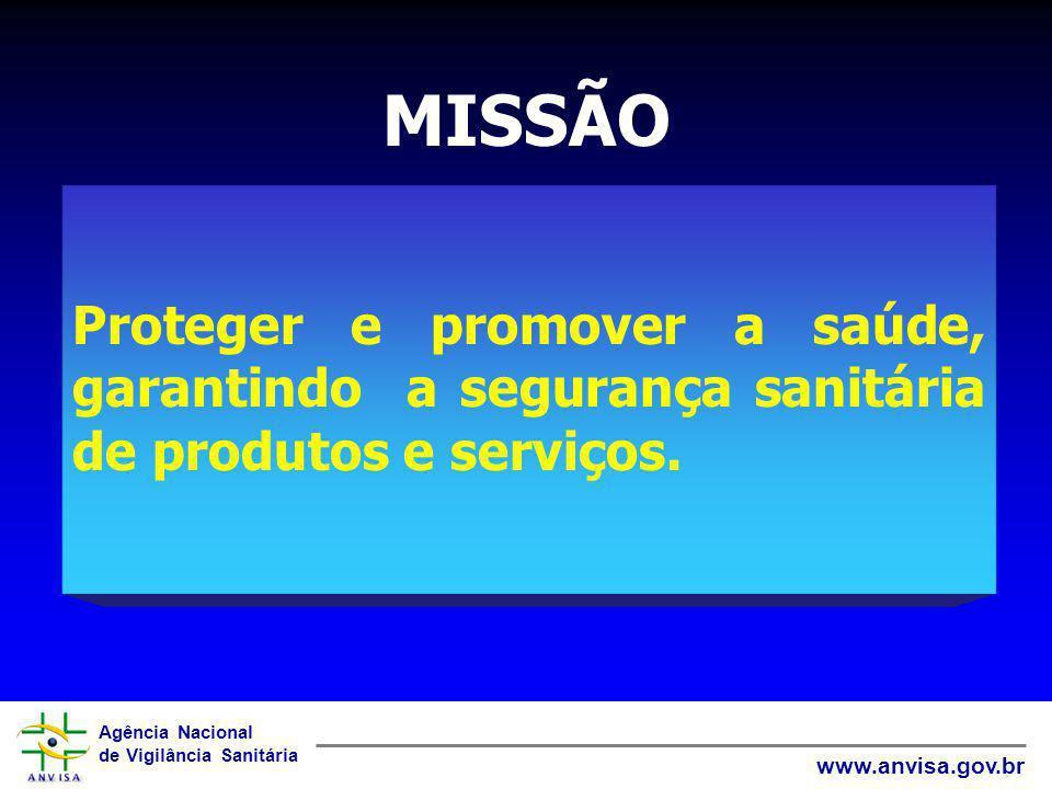 Agência Nacional de Vigilância Sanitária www.anvisa.gov.br MISSÃO Proteger e promover a saúde, garantindo a segurança sanitária de produtos e serviços