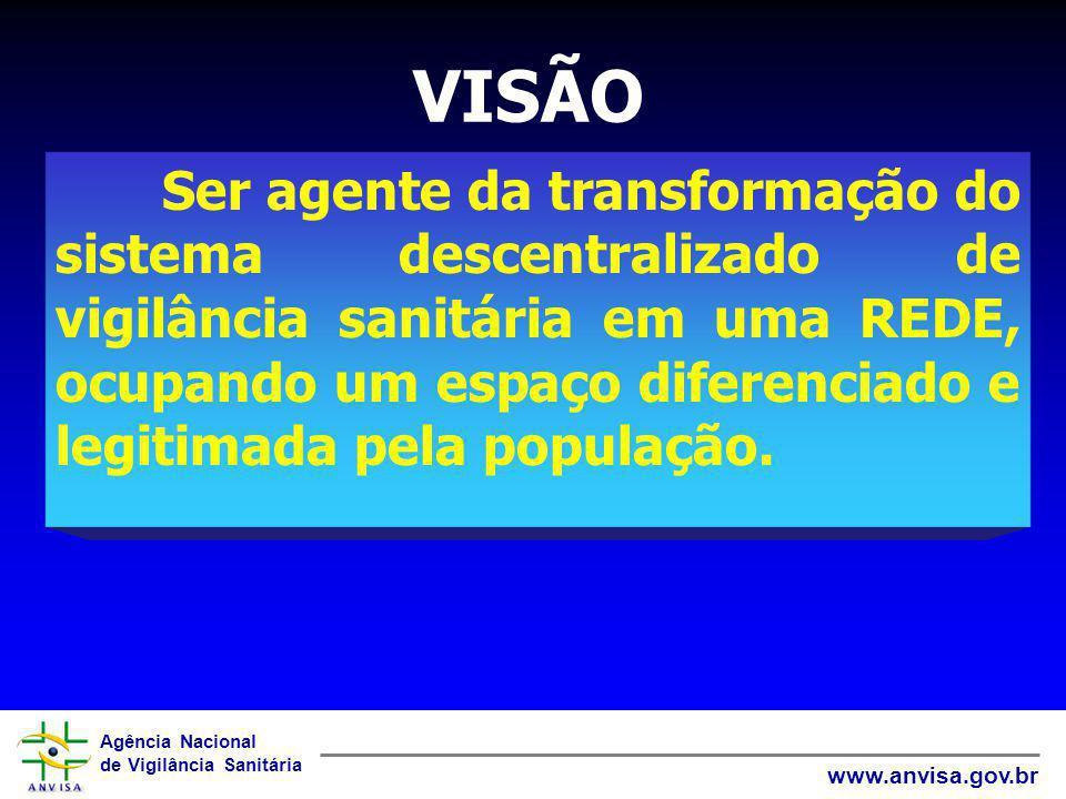 Agência Nacional de Vigilância Sanitária www.anvisa.gov.br VISÃO Ser agente da transformação do sistema descentralizado de vigilância sanitária em uma