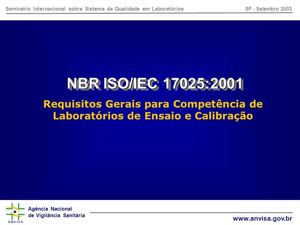 Agência Nacional de Vigilância Sanitária www.anvisa.gov.br Seminário Internacional sobre Sistema da Qualidade em Laboratórios SP - Setembro 2003 NBR ISO/IEC 17025:2001 4.4.