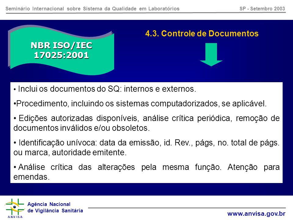 Agência Nacional de Vigilância Sanitária www.anvisa.gov.br Seminário Internacional sobre Sistema da Qualidade em Laboratórios SP - Setembro 2003 NBR ISO/IEC 17025:2001 4.2.