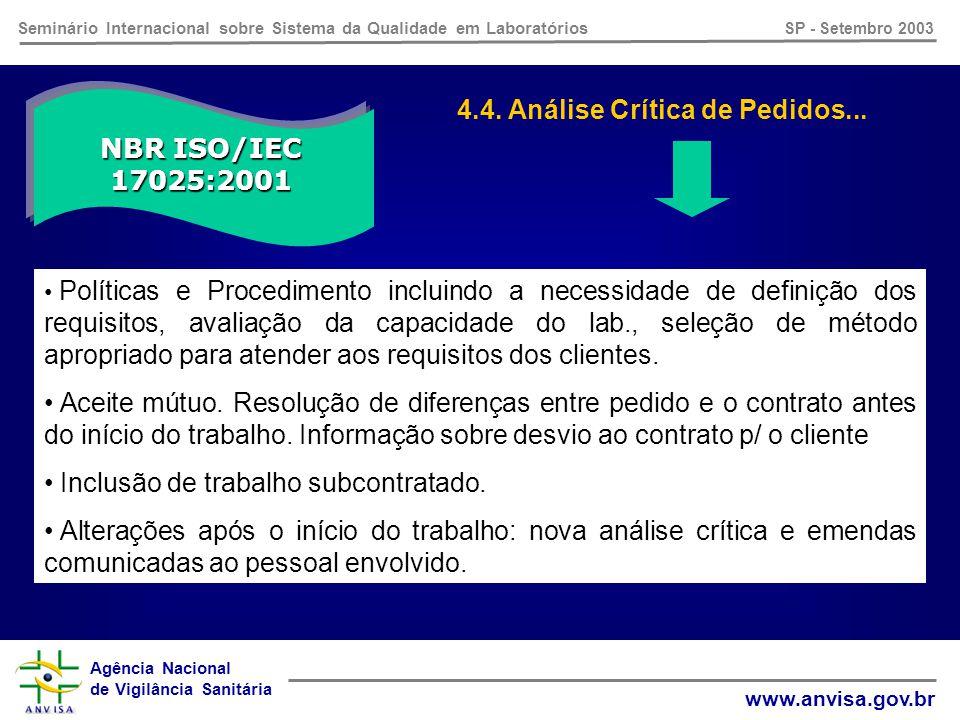 Agência Nacional de Vigilância Sanitária www.anvisa.gov.br Seminário Internacional sobre Sistema da Qualidade em Laboratórios SP - Setembro 2003 NBR ISO/IEC 17025:2001 4.3.