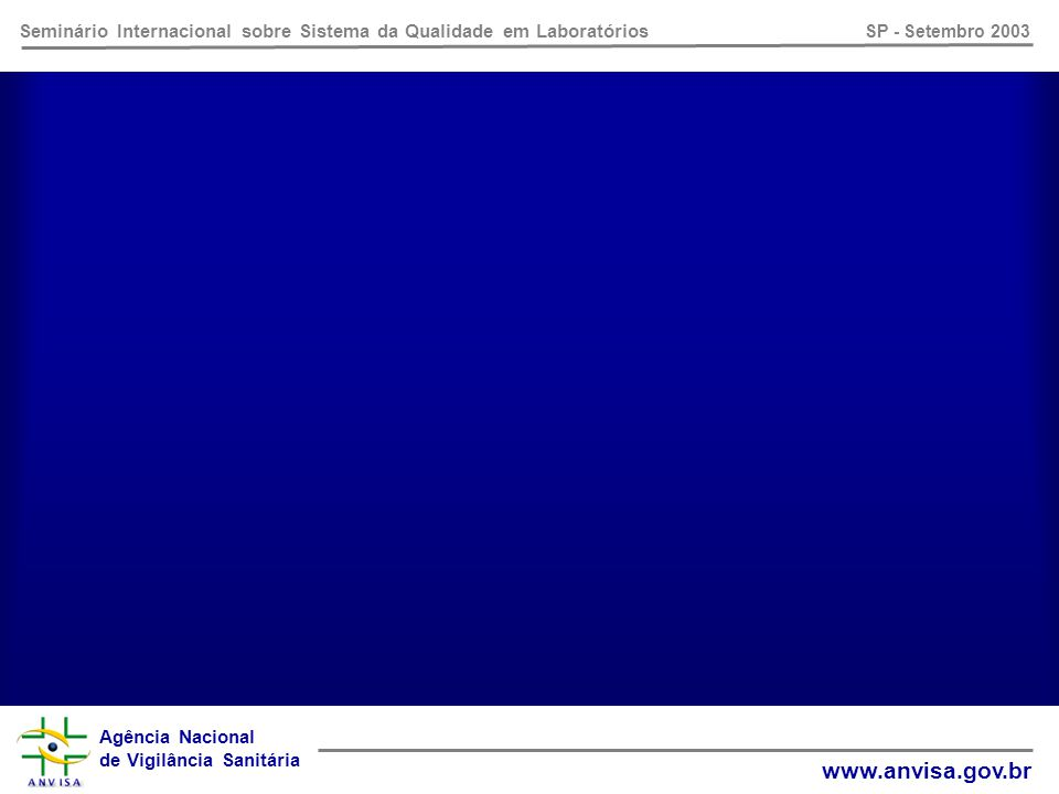 Agência Nacional de Vigilância Sanitária www.anvisa.gov.br Seminário Internacional sobre Sistema da Qualidade em Laboratórios SP - Setembro 2003 NBR ISO/IEC 17025:2001 Requisitos Gerais para Competência de Laboratórios de Ensaio e Calibração