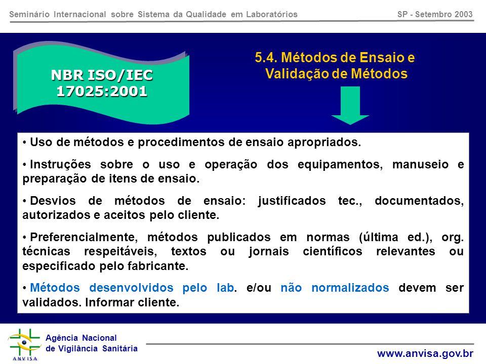 Agência Nacional de Vigilância Sanitária www.anvisa.gov.br Seminário Internacional sobre Sistema da Qualidade em Laboratórios SP - Setembro 2003 NBR ISO/IEC 17025:2001 5.3.
