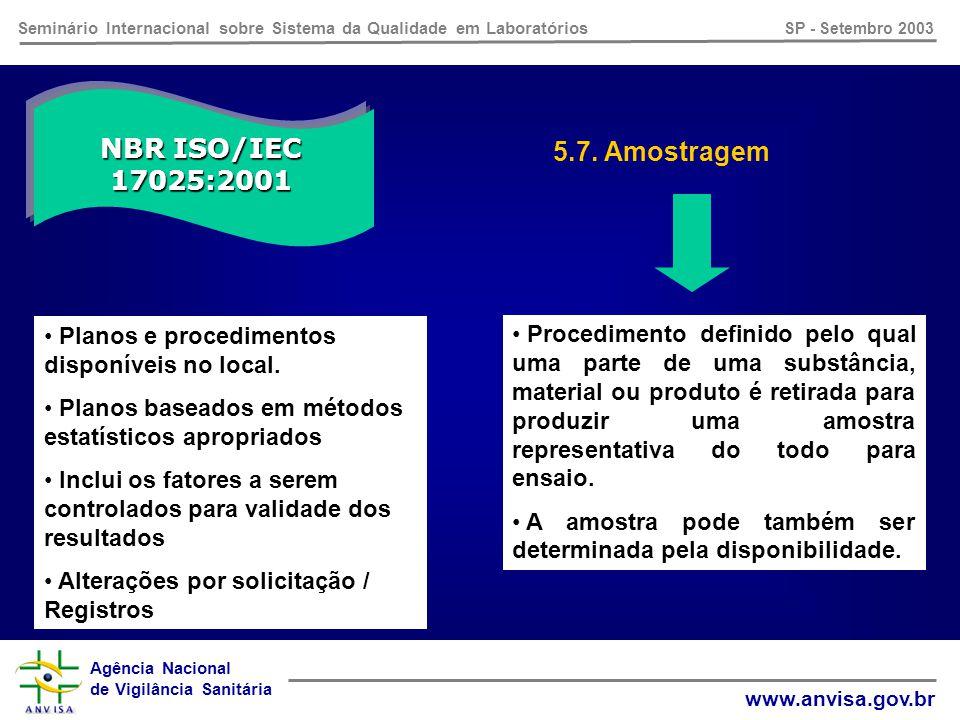 Agência Nacional de Vigilância Sanitária www.anvisa.gov.br Seminário Internacional sobre Sistema da Qualidade em Laboratórios SP - Setembro 2003 NBR ISO/IEC 17025:2001 5.6.