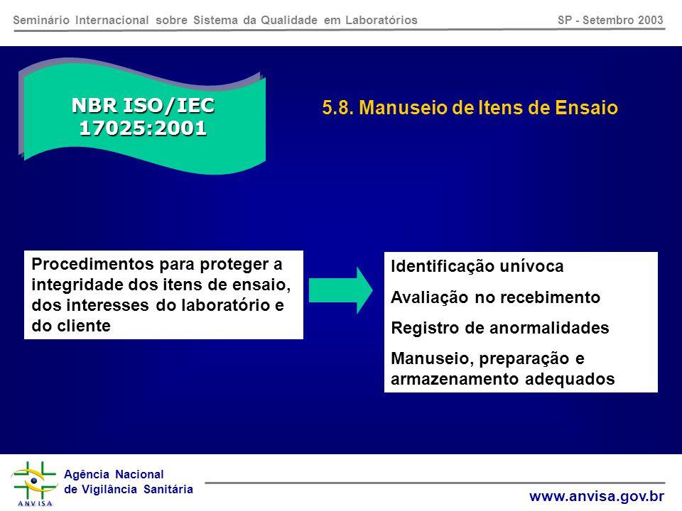 Agência Nacional de Vigilância Sanitária www.anvisa.gov.br Seminário Internacional sobre Sistema da Qualidade em Laboratórios SP - Setembro 2003 NBR ISO/IEC 17025:2001 5.7.