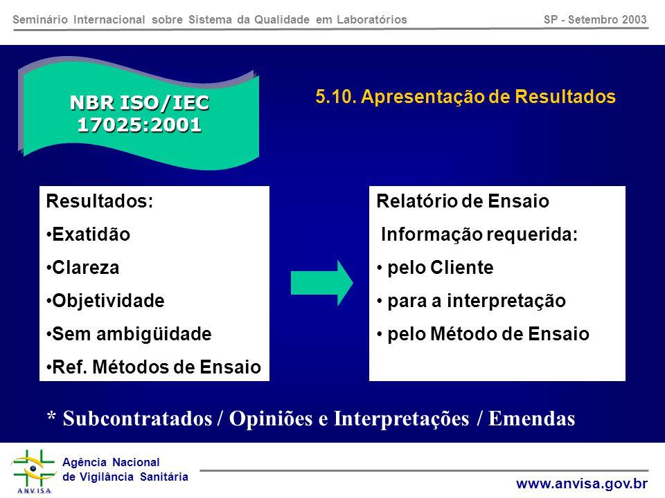 Agência Nacional de Vigilância Sanitária www.anvisa.gov.br Seminário Internacional sobre Sistema da Qualidade em Laboratórios SP - Setembro 2003 NBR ISO/IEC 17025:2001 5.9.