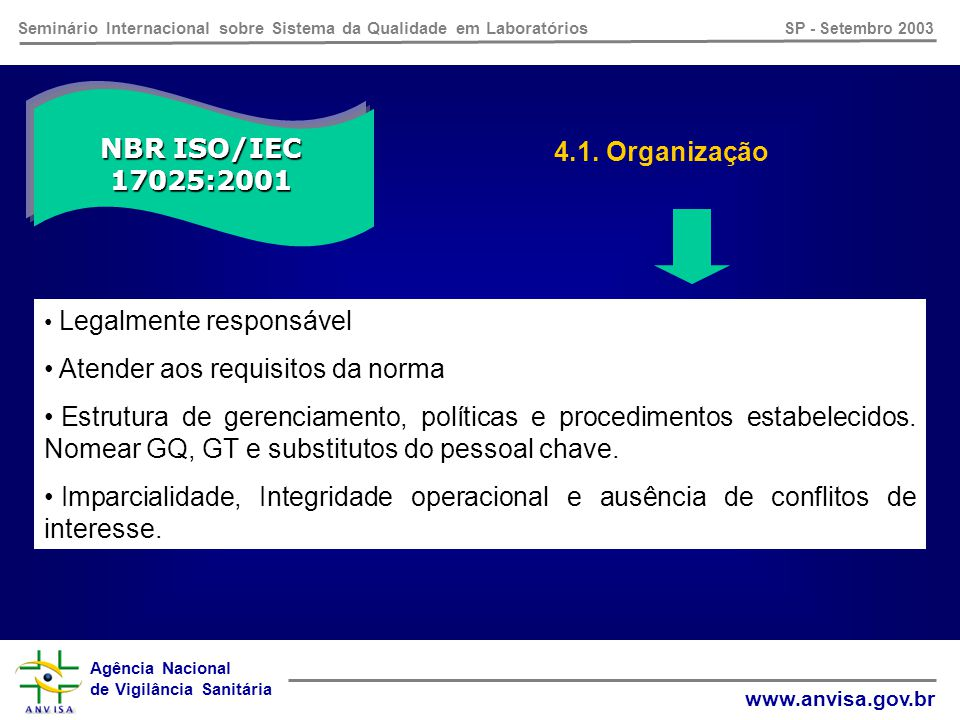 Agência Nacional de Vigilância Sanitária www.anvisa.gov.br Seminário Internacional sobre Sistema da Qualidade em Laboratórios SP - Setembro 2003 NBR ISO/IEC 17025:2001 Requisitos da Gerência Itens 4.1.
