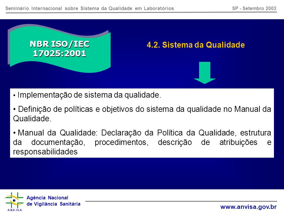 Agência Nacional de Vigilância Sanitária www.anvisa.gov.br Seminário Internacional sobre Sistema da Qualidade em Laboratórios SP - Setembro 2003 4.13.