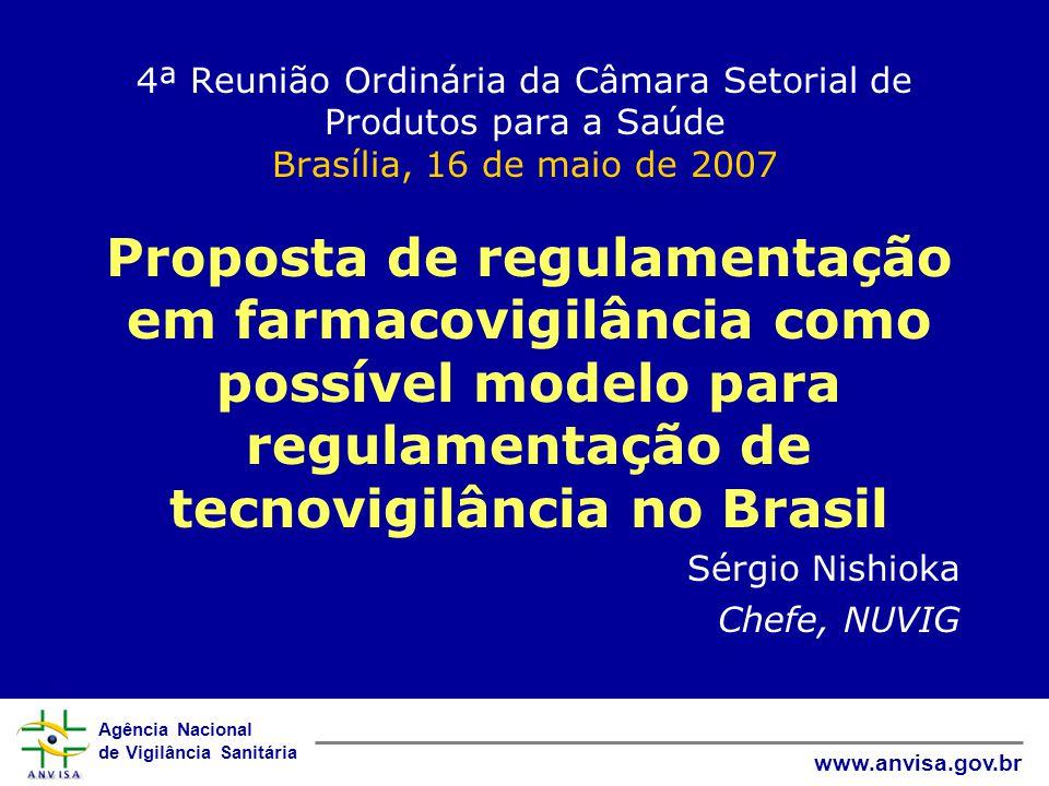 Agência Nacional de Vigilância Sanitária www.anvisa.gov.br Vigilância Pós-Comercialização no Brasil - Histórico 2001 - 2002: GGSPS –Vigilância pós-comercialização centralizada –Farmacovigilância, Tecnovigilância, Hemovigilância –Hospitais sentinela 2003 - 2005: Descentralização –UFARM -> GGMED –UTVIG -> GGTPS –GVISS -> GGTES Outubro 2005: NUVIG