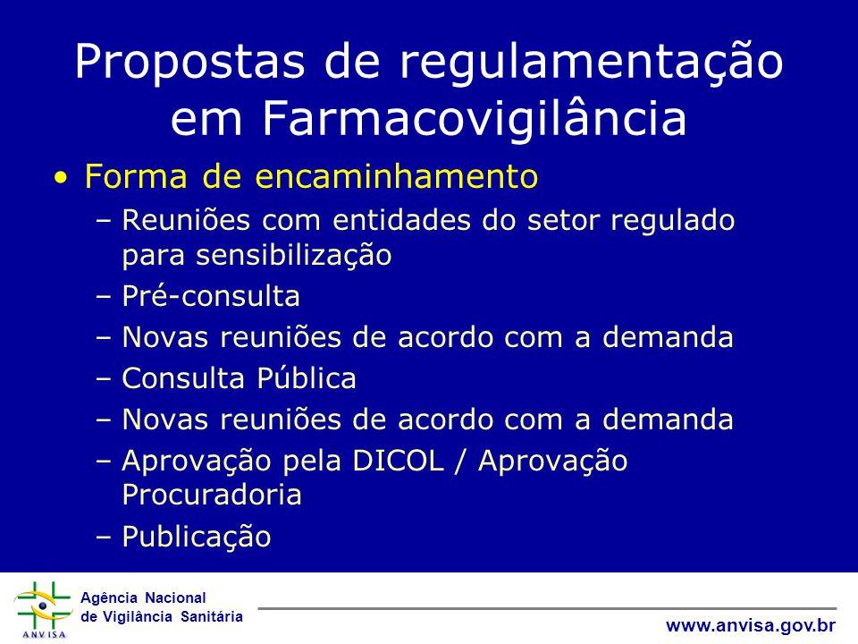 Agência Nacional de Vigilância Sanitária www.anvisa.gov.br Propostas de regulamentação em Farmacovigilância Propostas de duas RDCs 1.