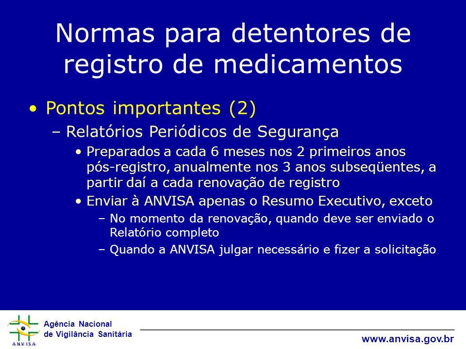 Agência Nacional de Vigilância Sanitária www.anvisa.gov.br Normas para detentores de registro de medicamentos Guias –Publicados separadamente, como REs Terminologia em Farmacovigilância Auditoria Regulatória em Farmacovigilância Boas Práticas de Farmacovigilância Gerenciamento e Minimização de Riscos Submissão de Relatórios em Farmacovigilância Notificação – NOTIVISA Geração e submissão do XML Schema das notificações de suspeita de RA Notificação em Situações Especiais