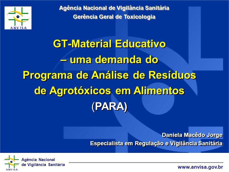 Agência Nacional de Vigilância Sanitária www.anvisa.gov.br GT-Material Educativo – uma demanda do Programa de Análise de Resíduos de Agrotóxicos em Al