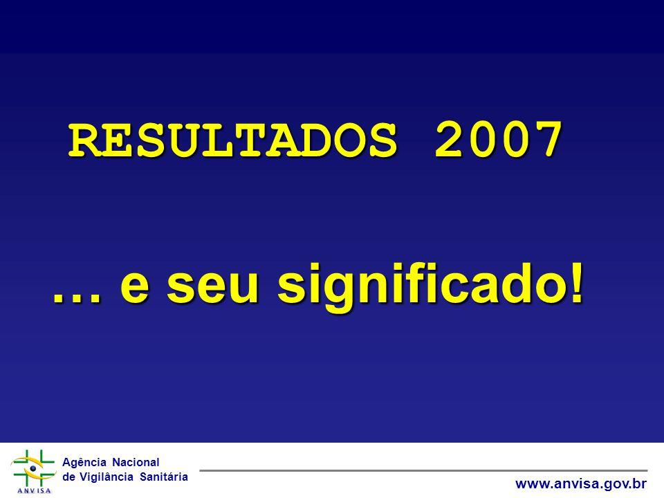 Agência Nacional de Vigilância Sanitária www.anvisa.gov.br RESULTADOS 2007 … e seu significado!