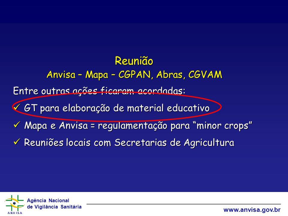 Agência Nacional de Vigilância Sanitária www.anvisa.gov.br Reunião Anvisa – Mapa – CGPAN, Abras, CGVAM Entre outras ações ficaram acordadas: GT para e