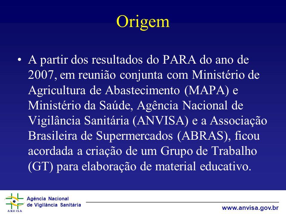 Agência Nacional de Vigilância Sanitária www.anvisa.gov.br Origem A partir dos resultados do PARA do ano de 2007, em reunião conjunta com Ministério d