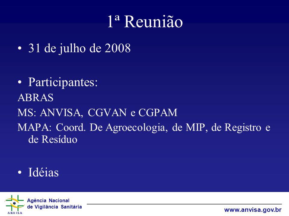 Agência Nacional de Vigilância Sanitária www.anvisa.gov.br 1ª Reunião 31 de julho de 2008 Participantes: ABRAS MS: ANVISA, CGVAN e CGPAM MAPA: Coord.