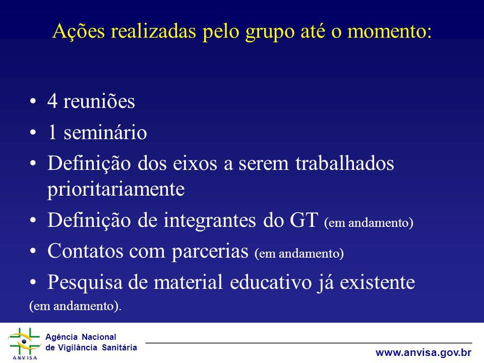 Agência Nacional de Vigilância Sanitária www.anvisa.gov.br Ações realizadas pelo grupo até o momento: 4 reuniões 1 seminário Definição dos eixos a ser