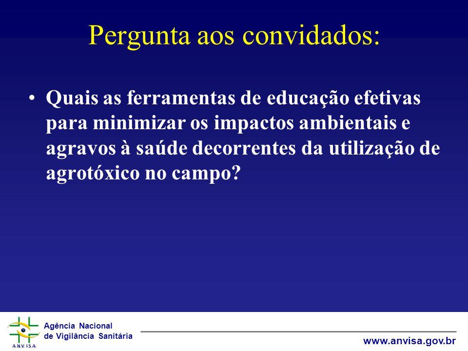 Agência Nacional de Vigilância Sanitária www.anvisa.gov.br Pergunta aos convidados: Quais as ferramentas de educação efetivas para minimizar os impact