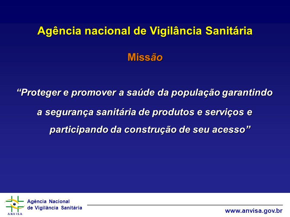 Agência Nacional de Vigilância Sanitária www.anvisa.gov.br Agência nacional de Vigilância Sanitária Missão Proteger e promover a saúde da população ga
