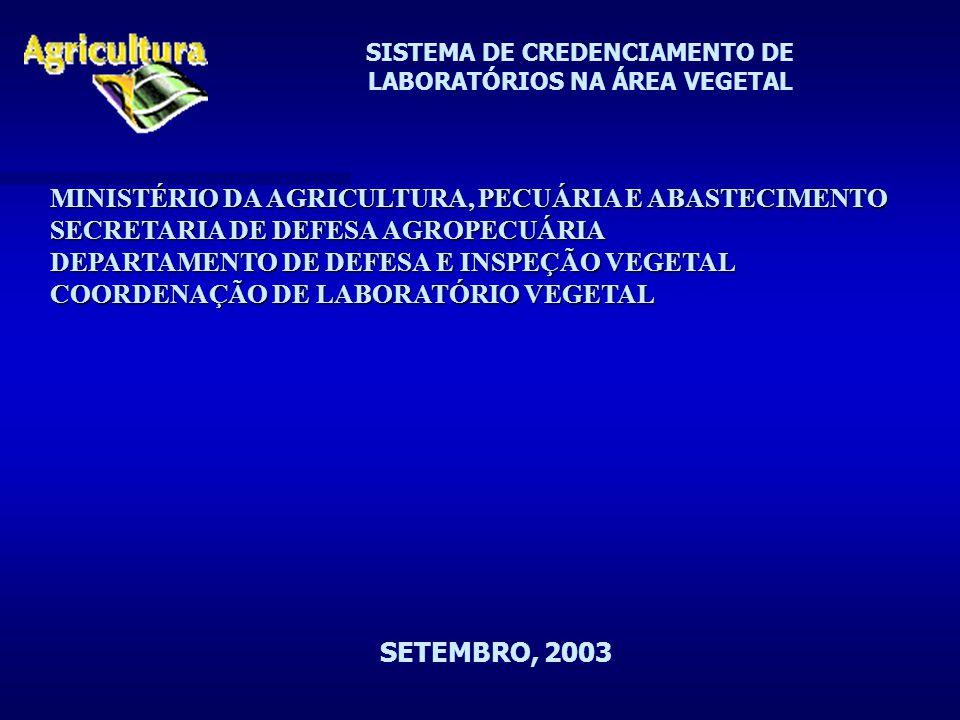 SISTEMA DE CREDENCIAMENTO DE LABORATÓRIOS NA ÁREA VEGETAL MINISTÉRIO DA AGRICULTURA, PECUÁRIA E ABASTECIMENTO SECRETARIA DE DEFESA AGROPECUÁRIA DEPARTAMENTO DE DEFESA E INSPEÇÃO VEGETAL COORDENAÇÃO DE LABORATÓRIO VEGETAL SETEMBRO, 2003