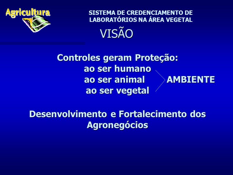 SISTEMA DE CREDENCIAMENTO DE LABORATÓRIOS NA ÁREA VEGETAL VISÃO Controles geram Proteção: ao ser humano ao ser animal AMBIENTE ao ser animal AMBIENTE