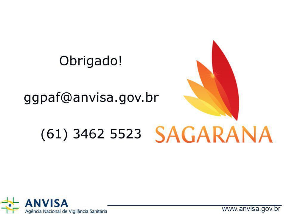 Obrigado! ggpaf@anvisa.gov.br (61) 3462 5523