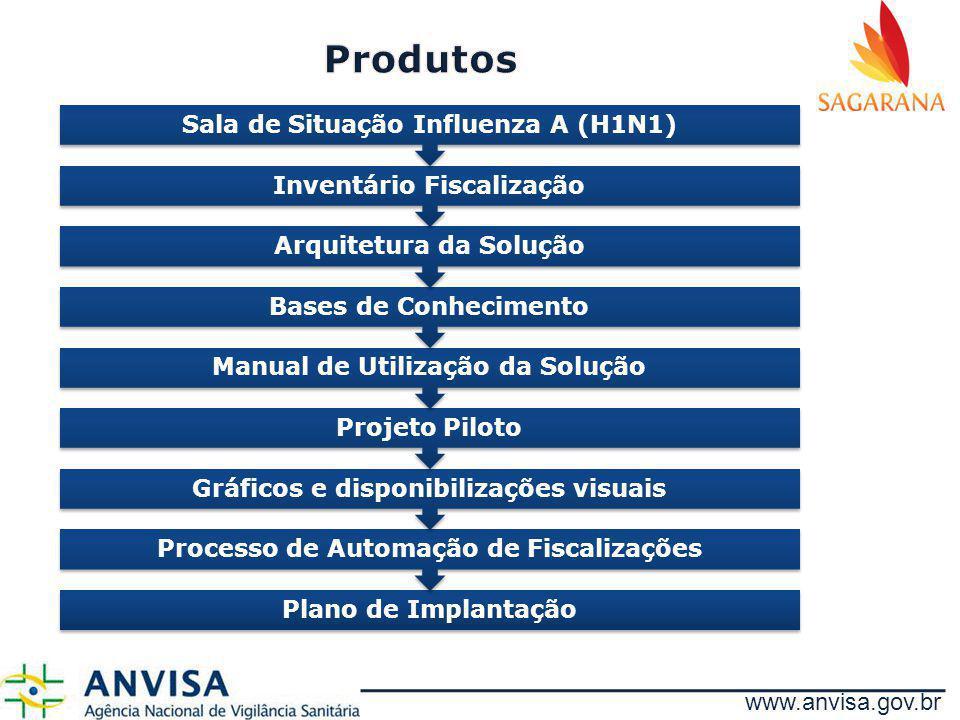 www.anvisa.gov.br Plano de Implantação Processo de Automação de Fiscalizações Gráficos e disponibilizações visuais Projeto Piloto Manual de Utilização