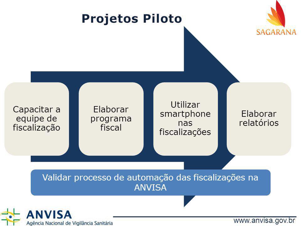 Capacitar a equipe de fiscalização Elaborar programa fiscal Utilizar smartphone nas fiscalizações Elaborar relatórios Validar processo de automação da