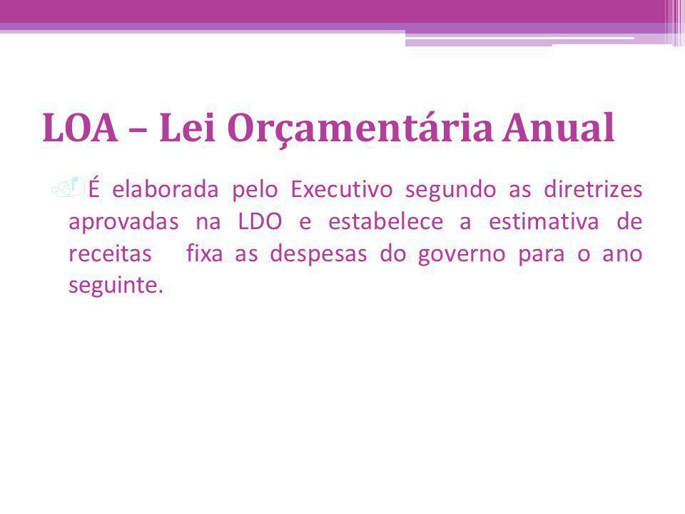 LOA – Lei Orçamentária Anual.É elaborada pelo Executivo segundo as diretrizes aprovadas na LDO e estabelece a estimativa de receitas fixa as despesas do governo para o ano seguinte.