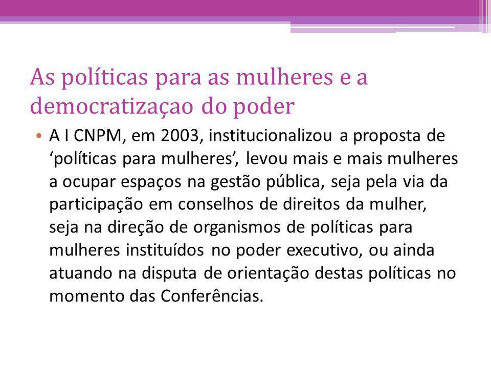 As políticas para as mulheres e a democratizaçao do poder A I CNPM, em 2003, institucionalizou a proposta de políticas para mulheres, levou mais e mai