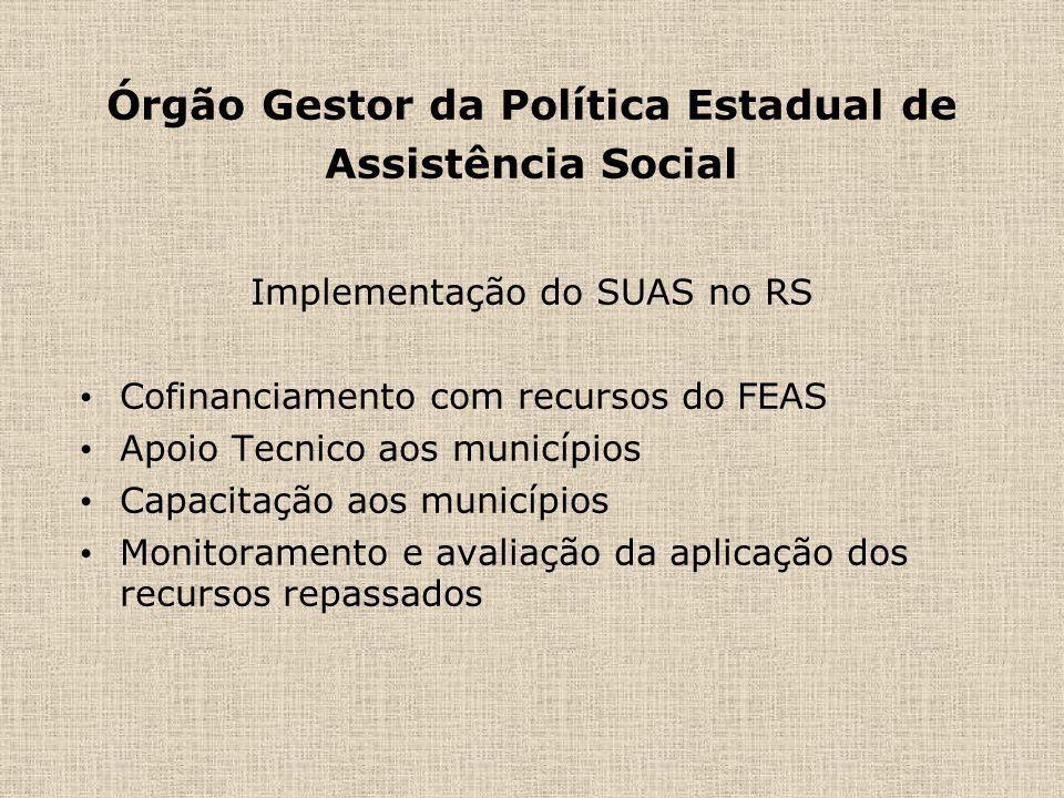 Órgão Gestor da Política Estadual de Assistência Social Implementação do SUAS no RS Cofinanciamento com recursos do FEAS Apoio Tecnico aos municípios