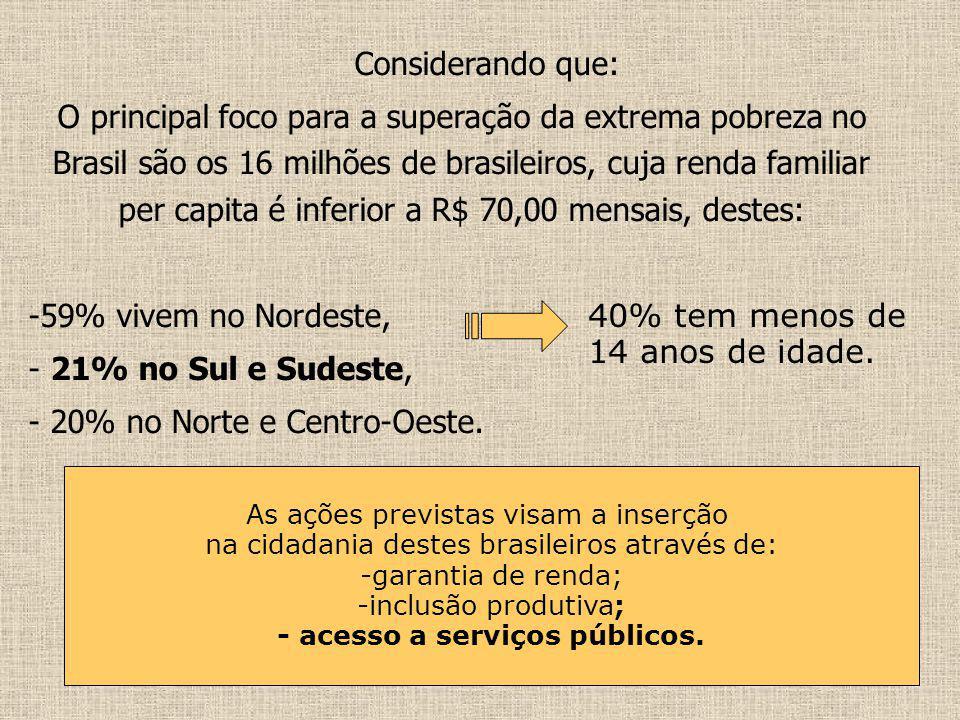Considerando que: O principal foco para a superação da extrema pobreza no Brasil são os 16 milhões de brasileiros, cuja renda familiar per capita é in